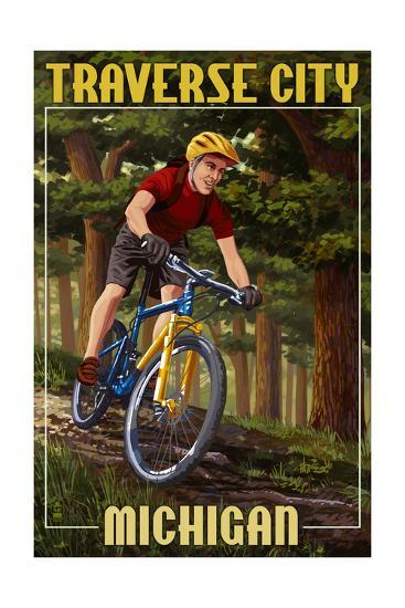 Traverse City, Michigan - Mountain Biker in Trees-Lantern Press-Art Print