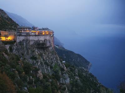 The Simonos Petras Monastery 800 Feet Above the Aegean Sea
