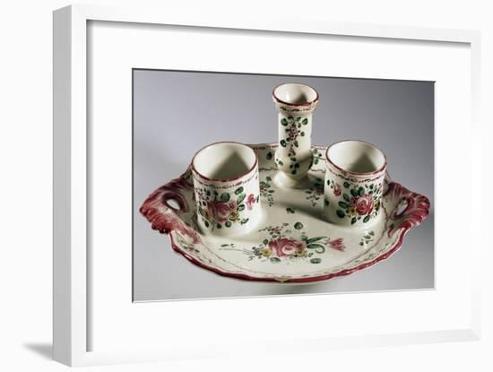 Tray for Inkwell Holder, Duster and Pens, Decorated with Bouquets and Roses, Majolica--Framed Giclee Print