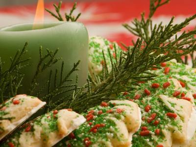 Tray of Decorative Christmas Cookies and Holiday Candle--Photographic Print