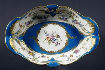 Tray with Turquoise Background with Multi-Coloured Flowers, Porcelain, 1754-1756--Giclee Print