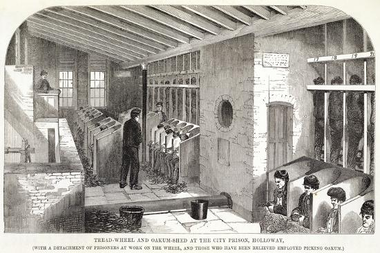 'Tread-Wheel and Oakum-Shed at the City Prison, Holloway', London, 1862-Unknown-Giclee Print