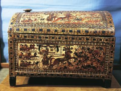 Treasure of Tutankhamen, Wooden Chest with Scenes of War--Giclee Print