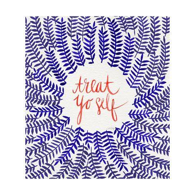 Treat Yo Self Coral Navy-Cat Coquillette-Giclee Print