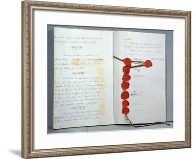 Treaty Establishing Belgium as a Sovereign State, Signed 15th November 1831--Framed Giclee Print