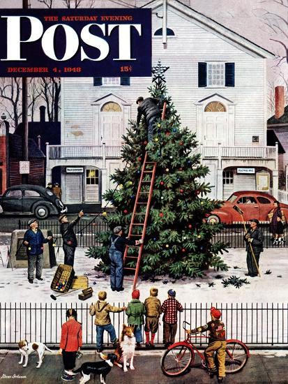 """Tree in Town Square,"" Saturday Evening Post Cover, December 4, 1948-Stevan Dohanos-Premium Giclee Print"