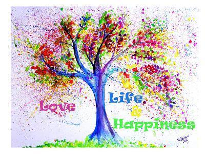 Tree Love Life Happiness-M Bleichner-Art Print