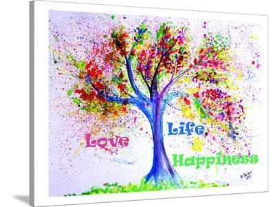 Tree Love Life Happiness-M Bleichner-Stretched Canvas Print