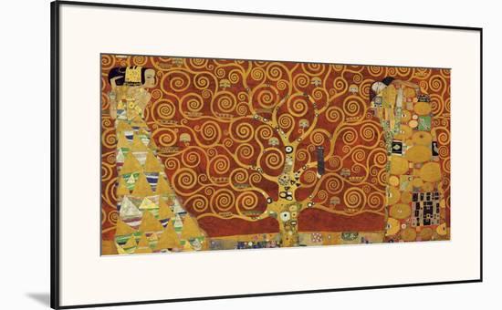 Tree of Life (red variation)-Gustav Klimt-Framed Art Print