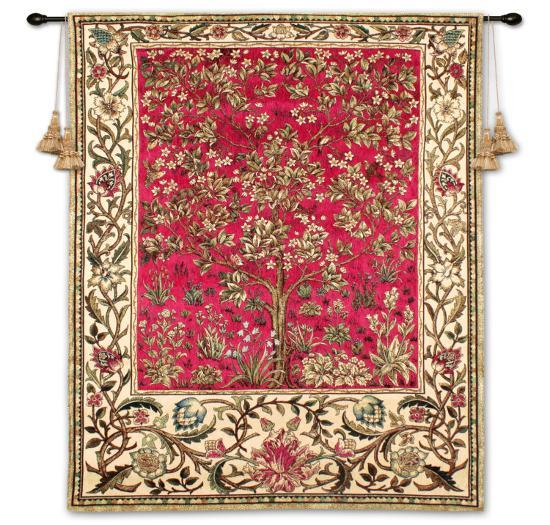 Tree of Life Ruby-William Morris-Wall Tapestry