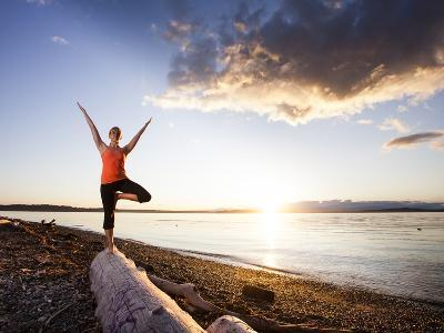 Tree Pose During Sunset on the Beach of Lincoln Park, West Seattle, Washington-Dan Holz-Photographic Print