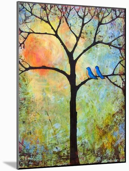 Tree Print Art Birds Sunshine Bluebirds-Blenda Tyvoll-Mounted Art Print