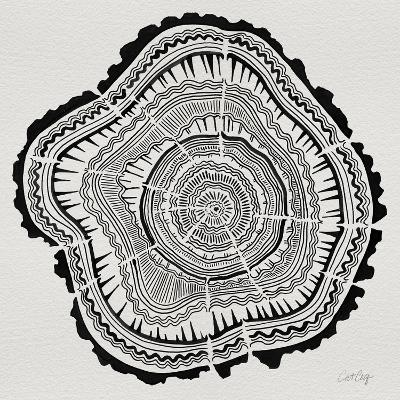Tree Rings Black on White-Cat Coquillette-Giclee Print