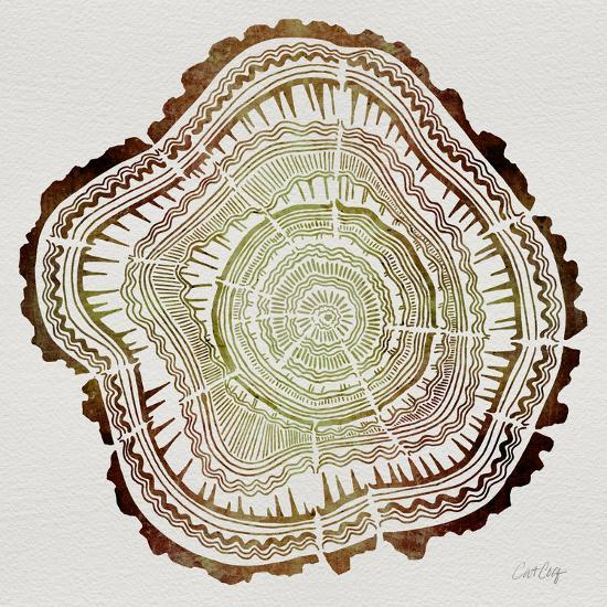 Tree Rings in Brown-Cat Coquillette-Giclee Print