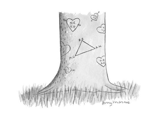 tree trunk with lots of sweethearts' carved initials has triangle diagram ?  - cartoonby jerry marcus