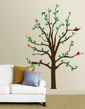 Tree With Multi-Colored Birds