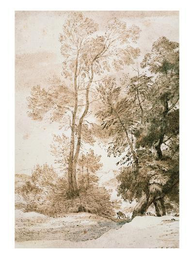 Trees and Deer, after Claude, 1825 (Pen and Ink with Wash on Paper)-John Constable-Giclee Print