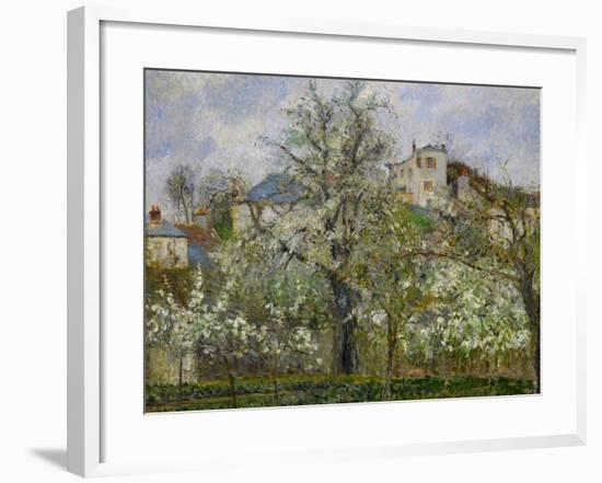 Trees and Flowers, Spring at Pontoise, 1877-Camille Pissarro-Framed Giclee Print