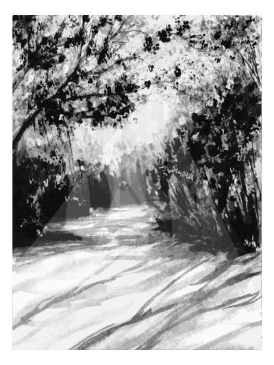 Trees and Shadows on Sand-Rich LaPenna-Giclee Print