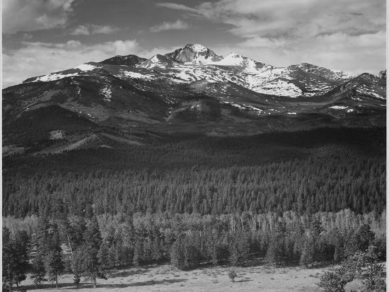 """Trees Fgnd, Snow Covered Mts Bkgd """"Long's Peak From North Rocky Mountain NP"""" Colorado 1933-1942-Ansel Adams-Art Print"""