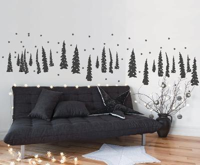 Trees In The Snow - Dark Grey--Wall Decal