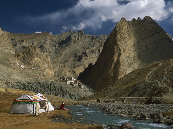 Trekker Writes in Diary Beside Tibetan Tent, Photoskar Village, Ladakh, Himalayas, Northwest India-Colin Monteath/Minden Pictures-Photographic Print