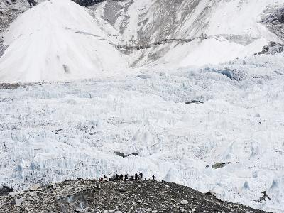Trekkers Below the The Western Cwm Glacier at Everest Base Camp, Himalayas-Christian Kober-Photographic Print