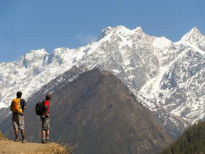 Trekkers in the Tsum Valley Admire Views of the Ganesh Himal Mountains-Alex Treadway-Photographic Print