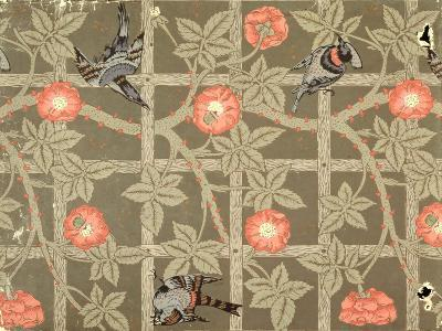 Trellis Wallpaper Design with a Bottle Green Background, 1864-William Morris-Giclee Print
