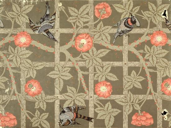 Trellis Wallpaper Design With A Bottle Green Background 1864 Giclee Print By William Morris