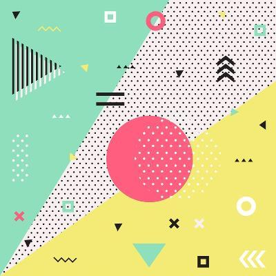 Trendy Geometric Elements Memphis Cards. Retro Style Texture, Pattern and Geometric Elements. Moder- bosotochka-Art Print