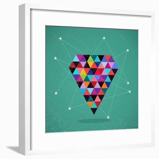 Trendy Triangle Diamond Illustration-cienpies-Framed Premium Giclee Print