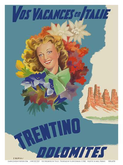 Trentino, Italy - Dolomites Mountain Range - Vos Vacances en Italie (Your Holidays in Italy)-Filippo Romoli-Art Print