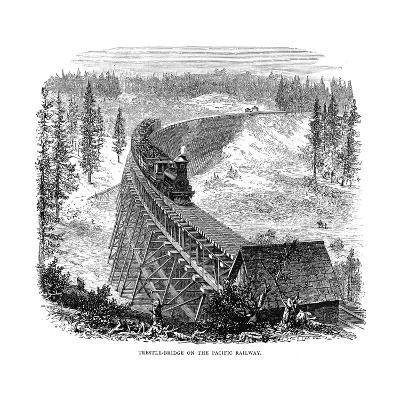 Trestle Bridge on the Union Pacific Railroad, USA, 1876--Giclee Print