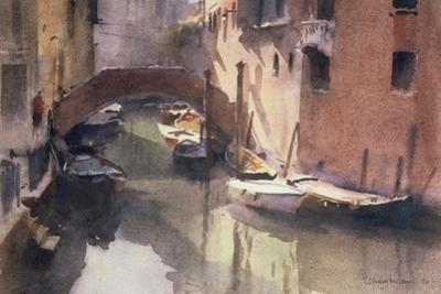 A Quiet Canal in Venice, 1990 by Trevor Chamberlain