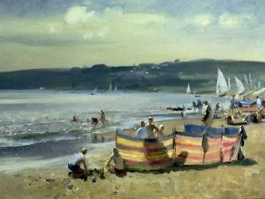 Children on the Beach at Abersoch by Trevor Chamberlain