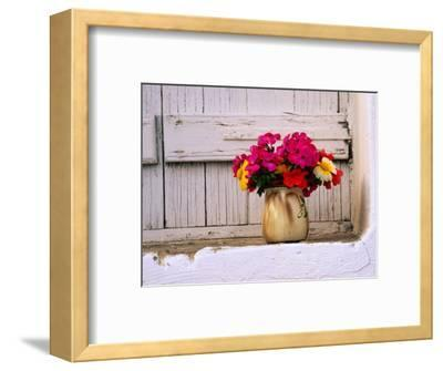 Flowers in Vase on Window Ledge, Megala Horafia, Greece
