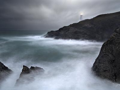 Trevose Lighthouse in a Storm, Cornwall, UK-David Clapp-Photographic Print