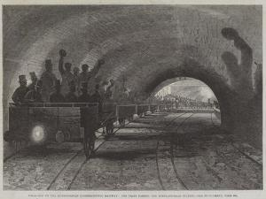 Trial-Trip on the Metropolitan (Underground) Railway, the Train Passing the Portland-Road Station