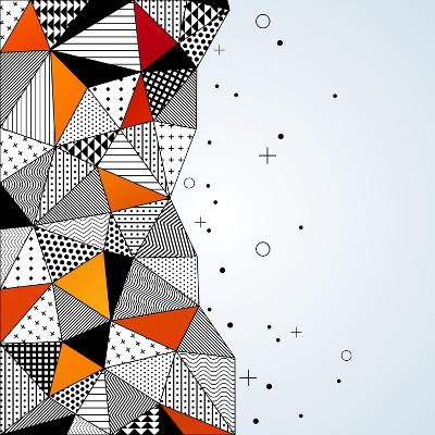 Triangle Pattern Background. Vector Illustration with Space for Text. Contrasting Fashionable Polyg-kotoffei-Art Print