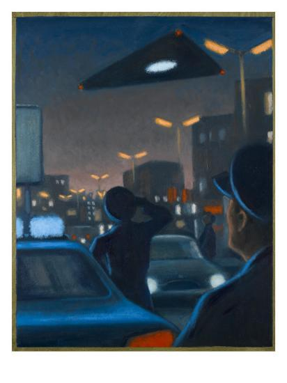 Triangle-Shaped UFO Observed over Brussels-Michael Buhler-Giclee Print