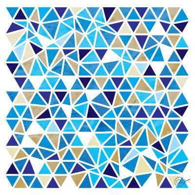 Triangles - Blue and Beige-Dominique Vari-Art Print