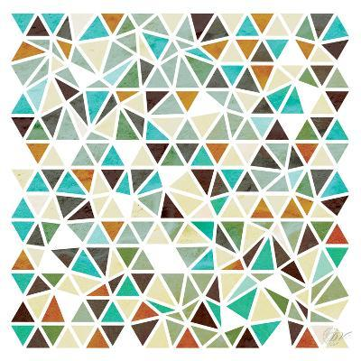 Triangles - Gold and Turquoise-Dominique Vari-Art Print