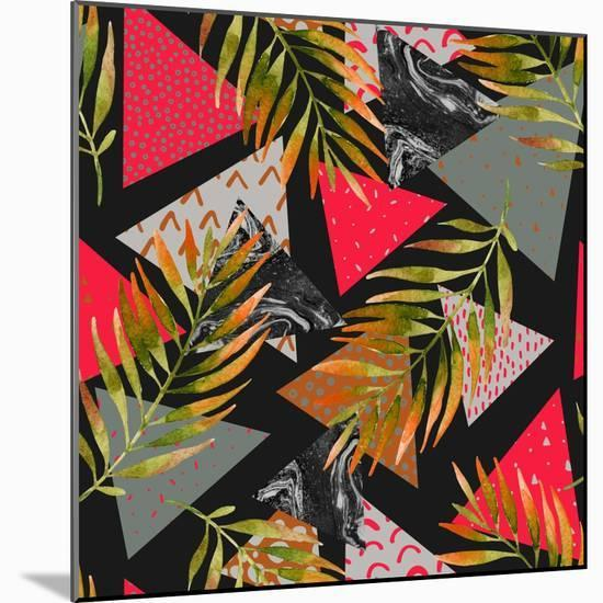 Triangles with Palm Tree Leaves-tanycya-Mounted Premium Giclee Print