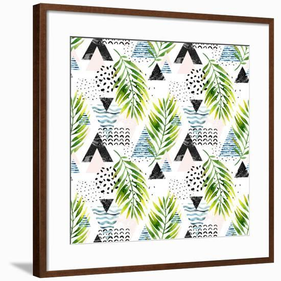 Triangles with Palm Tree Leaves-tanycya-Framed Art Print