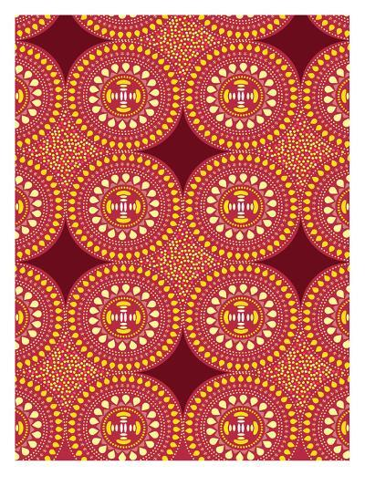 Tribal African Red Pattern-Patricia Pino-Art Print