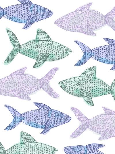 Tribal Fish Pattern Pastel-Jetty Printables-Art Print