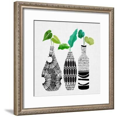 Tribal Vase Trio-Modern Tropical-Framed Art Print