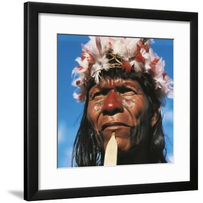 Tribe Chief of the Karaja People Living on the Rio Araguaia--Framed Photographic Print
