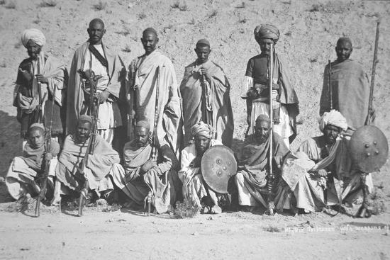 Tribesmen of the Khyber Pass Armed with Antique Weapons, 1919--Photographic Print